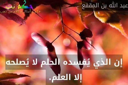إن الذي يُفسده الحلم لا يُصلحه إلا العلم. -عبد الله بن المقفع