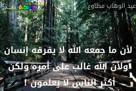 لأن ما جمعه الله لا يفرقه إنسان ولأن الله غالب على أمره ولكن أكثر الناس لا يعلمون ! -عبد الوهاب مطاوع