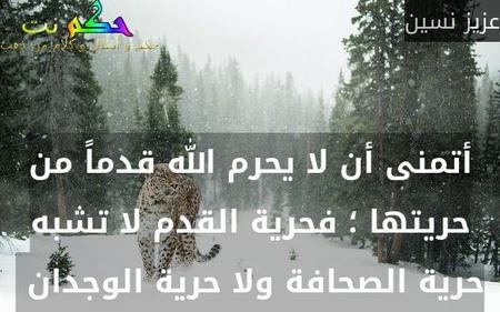 أتمنى أن لا يحرم الله قدماً من حريتها ؛ فحرية القدم لا تشبه حرية الصحافة ولا حرية الوجدان -عزيز نسين