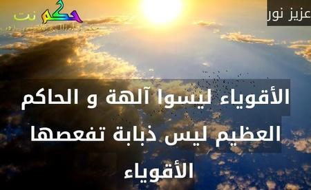 الأقوياء ليسوا آلهة و الحاكم العظيم ليس ذبابة تفعصها الأقوياء -عزيز نور
