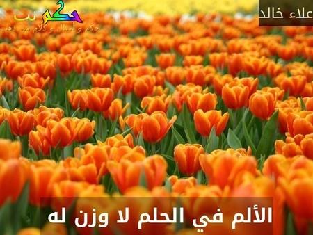 الألم في الحلم لا وزن له -علاء خالد