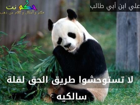 لا تستوحشوا طريق الحق لقلة سالكيه -علي ابن أبي طالب