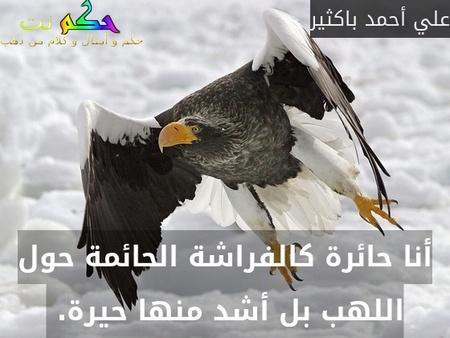 أنا حائرة كالفراشة الحائمة حول اللهب بل أشد منها حيرة. -علي أحمد باكثير