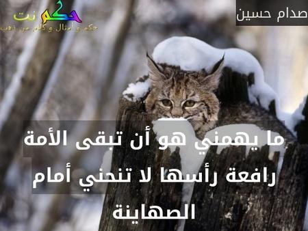ما يهمني هو أن تبقى الأمة رافعة رأسها لا تنحني أمام الصهاينة-صدام حسين