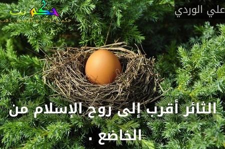 الثائر أقرب إلى روح الإسلام من الخاضع . -علي الوردي