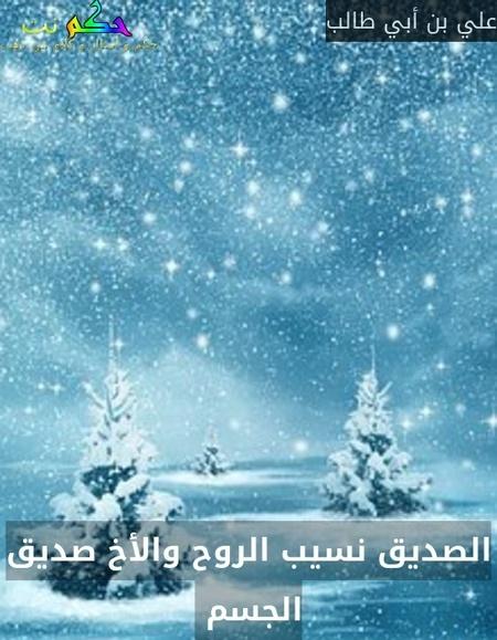 الصديق نسيب الروح والأخ صديق الجسم -علي بن أبي طالب