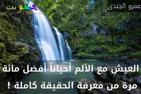 العيش مع الألم أحياناً أفضل مائة مرة من معرفة الحقيقة كاملة ! -عمرو الجندى