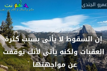 إن السقوط لا يأتى بسبب كثرة العقبات ولكنه يأتى لأنك توقفت عن مواجهتها -عمرو الجندى