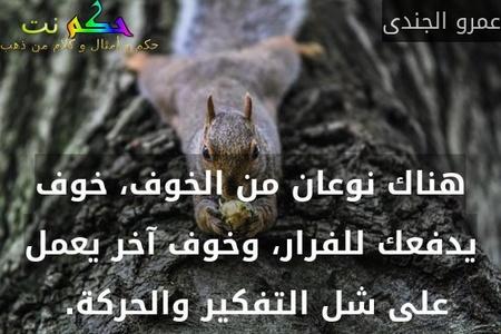 هناك نوعان من الخوف، خوف يدفعك للفرار، وخوف آخر يعمل على شل التفكير والحركة. -عمرو الجندى
