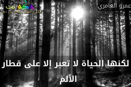 لكنها الحياة لا تعبر إلا على قطار الألم  -عمرو العامري