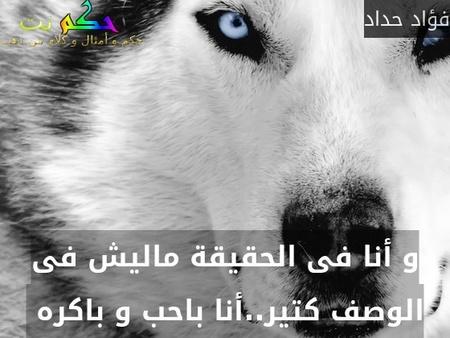 و أنا فى الحقيقة ماليش فى الوصف كتير..أنا باحب و باكره -فؤاد حداد