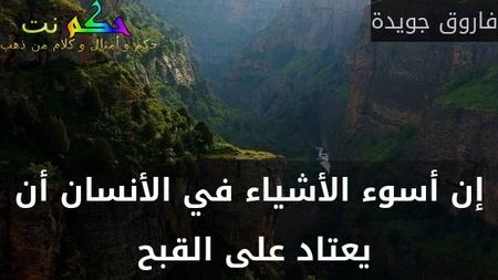 إن أسوء الأشياء في الأنسان أن يعتاد على القبح -فاروق جويدة