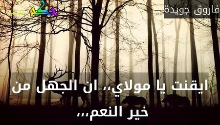 ايقنت يا مولاي،، ان الجهل من خير النعم،،، -فاروق جويدة
