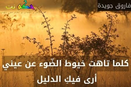 كلما تاهت خيوط الضّوء عن عيني أرى فيكِ الدليل -فاروق جويدة