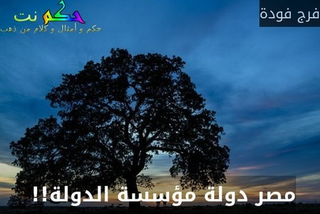 مصر دولة مؤسسة الدولة!! -فرج فودة