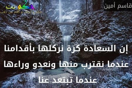 إن السعادة كرة نركلها بأقدامنا عندما نقترب منها ونعدو وراءها عندما تبتعد عنا -قاسم أمين