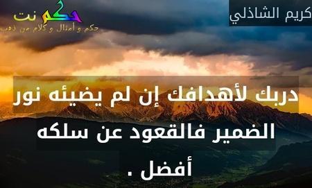 دربك لأهدافك إن لم يضيئه نور الضمير فالقعود عن سلكه أفضل . -كريم الشاذلي