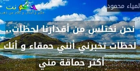 نحن نختلس من أقدارنا لحظات.. لحظات تخبرني أنني حمقاء و أنك أكثر حماقة مني -لمياء محمود