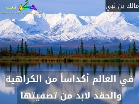 في العالم أكداساً من الكراهية والحقد لابد من تصفيتها -مالك بن نبي