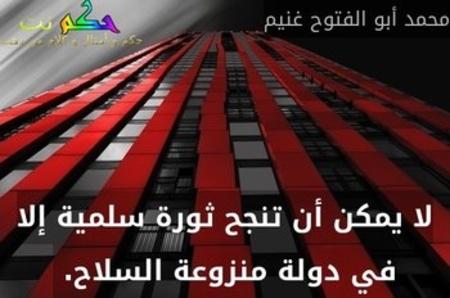 لا يمكن أن تنجح ثورة سلمية إلا في دولة منزوعة السلاح. -محمد أبو الفتوح غنيم