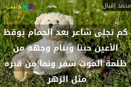 كم تجلى شاعر بعد الحمام يوقظ الأعين حينا وينام وجهه من ظلمة الموت سفر ونما من قبره مثل الزهر -محمد إقبال