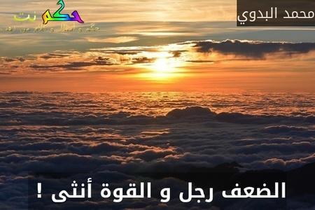 الضعف رجل و القوة أنثى ! -محمد البدوي