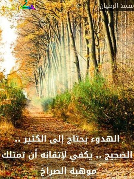 الهدوء يحتاج إلى الكثير .. الضجيج .. يكفي لإتقانه أن تمتلك موهبة الصراخ -محمد الرطيان