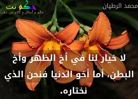 لا خيار لنا في أخ الظهر وأخ البطن، أما أخو الدنيا فنحن الذي نختاره.  -محمد الرطيان