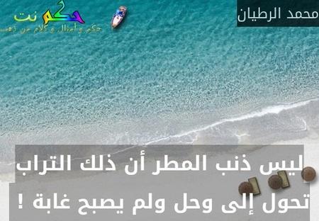 ليس ذنب المطر أن ذلك التراب تحول إلى وحل ولم يصبح غابة ! -محمد الرطيان
