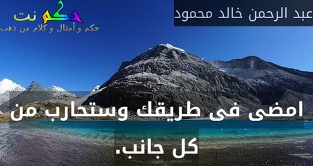 امضى فى طريقك وستحارب من كل جانب.-عبد الرحمن خالد محمود