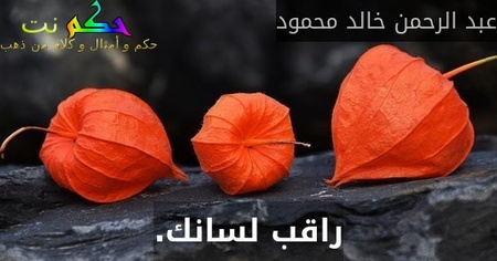 راقب لسانك.-عبد الرحمن خالد محمود