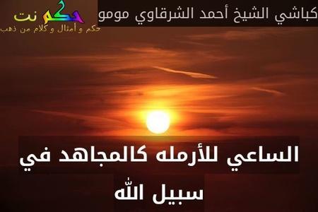 الساعي للأرمله كالمجاهد في سبيل الله-كباشي الشيخ أحمد الشرقاوي مومو