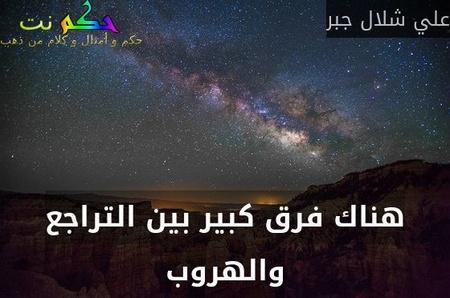 هناك فرق كبير بين التراجع والهروب-علي شلال جبر