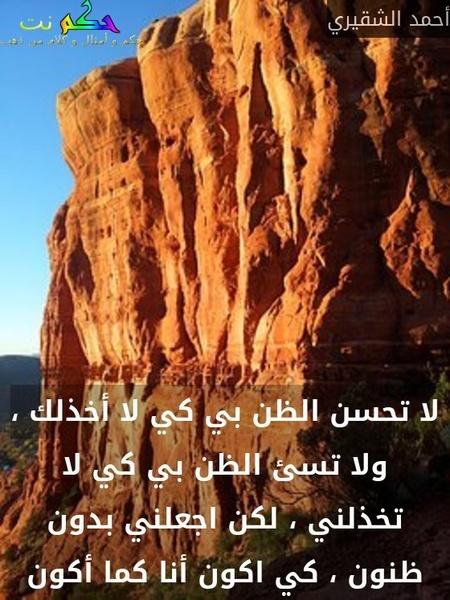 لا تحسن الظن بي كي لا أخذلك ، ولا تسئ الظن بي كي لا تخذلني ، لكن اجعلني بدون ظنون ، كي اكون أنا كما أكون-أحمد الشقيري