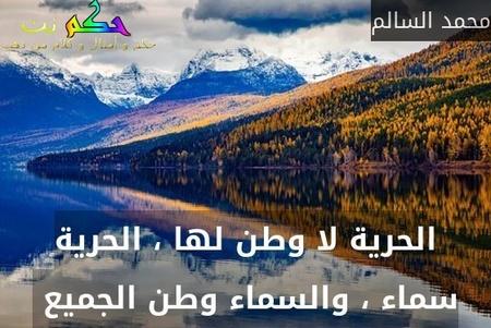 الحرية لا وطن لها ، الحرية سماء ، والسماء وطن الجميع -محمد السالم