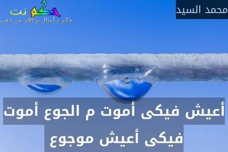 أعيش فيكى أموت م الجوع أموت فيكى أعيش موجوع -محمد السيد