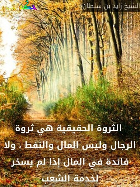 الثروة الحقيقية هي ثروة الرجال وليس المال والنفط ، ولا فائدة في المال إذا لم يسخر لخدمة الشعب-الشيخ زايد بن سلطان
