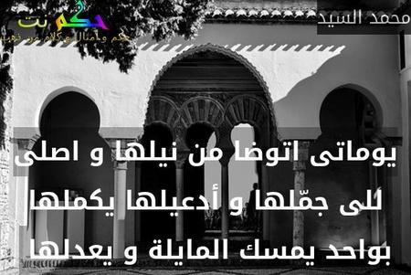 يوماتى اتوضا من نيلها و اصلى للى جمّلها و أدعيلها يكملها بواحد يمسك المايلة و يعدلها -محمد السيد