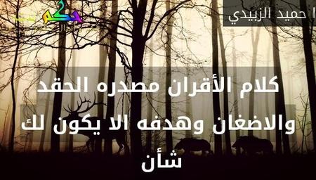 كلام الأقران مصدره الحقد والاضغان وهدفه الا يكون لك شأن -ا حميد الزبيدي