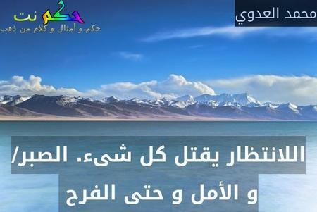اللانتظار يقتل كل شىء. الصبر/ و الأمل و حتى الفرح -محمد العدوي