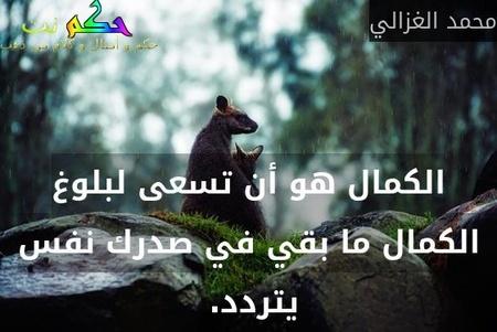 الكمال هو أن تسعى لبلوغ الكمال ما بقي في صدرك نفس يتردد. -محمد الغزالي
