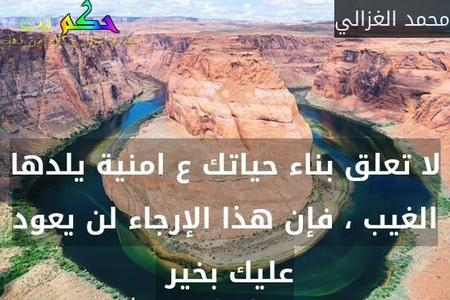 لا تعلق بناء حياتك ع امنية يلدها الغيب ، فإن هذا الإرجاء لن يعود عليك بخير -محمد الغزالي