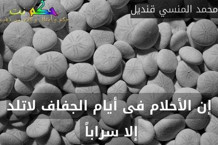 إن الأحلام فى أيام الجفاف لاتلد إلا سراباً -محمد المنسي قنديل