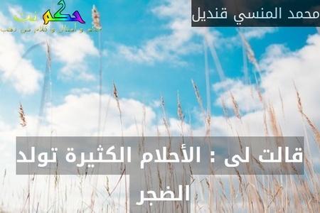 قالت لى : الأحلام الكثيرة تولد الضجر -محمد المنسي قنديل