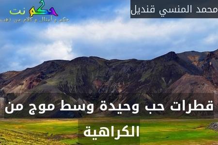 قطرات حب وحيدة وسط موج من الكراهية -محمد المنسي قنديل