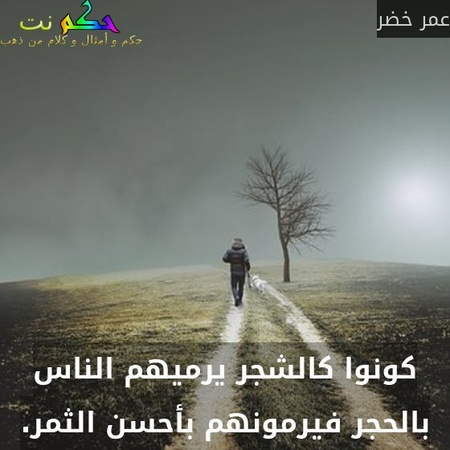 كونوا كالشجر يرميهم الناس بالحجر فيرمونهم بأحسن الثمر.-عمر خضر