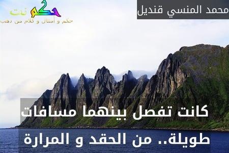 كانت تفصل بينهما مسافات طويلة.. من الحقد و المرارة -محمد المنسي قنديل