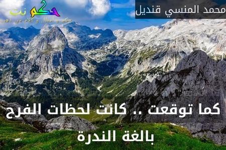 كما توقعت .. كانت لحظات الفرح بالغة الندرة -محمد المنسي قنديل