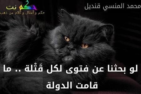 لو بحثنا عن فتوى لكل قَتْلة .. ما قامت الدولة -محمد المنسي قنديل