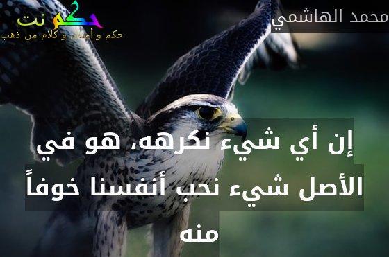 إن أي شيء نكرهه، هو في الأصل شيء نحب أنفسنا خوفاً منه -محمد الهاشمي